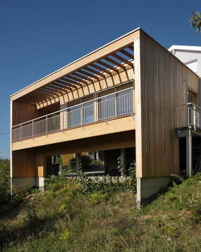 Extension en bois - balcon - baie vitrée